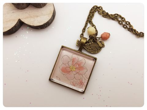 Pink,Watercolour,Flower,Pendant,necklace, pendant, modern, colourful, cabochon, flowers, watercolour
