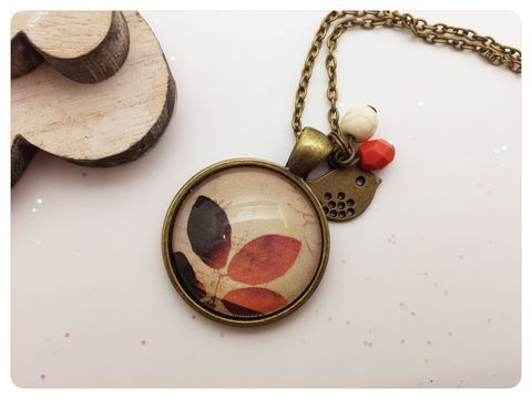 Orange,Leaf,Pendant,necklace, pendant, modern, colourful, cabochon, leafs