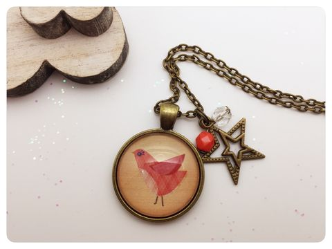 Red,Bird,Pendant,necklace, pendant, modern, colourful, cabochon, red, bird