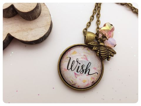 Wish,Pendant,wish, necklace, pendant, modern, colourful, cabochon,