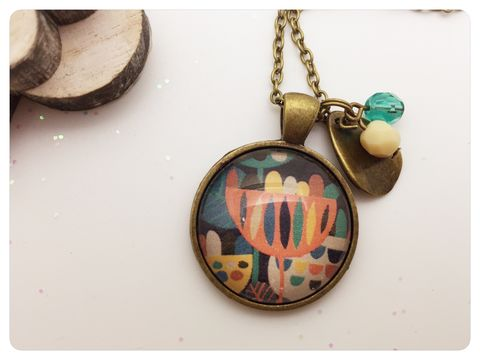 Retro,Flowers,Pendant,necklace, pendant, modern, colourful, cabochon, retro