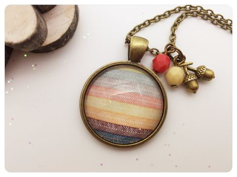 Indi,Pendant,necklace, pendant, modern, colourful, cabochon, stripes