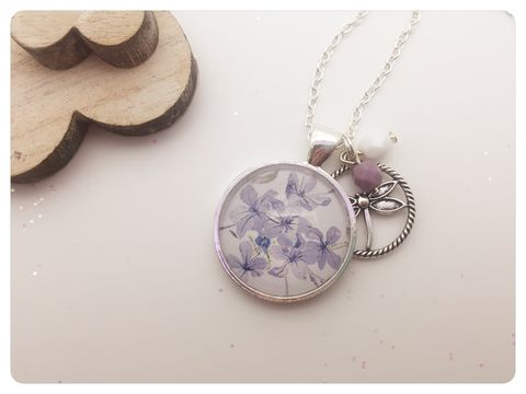 Purple,Campanula,Pendant,necklace, pendant, modern, colourful, cabochon, purple, Campanula