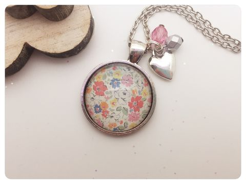 Colourful,Flowers,Pendant,necklace, pendant, modern, colourful, cabochon, garden, flowers