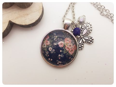 Blue,Chic,Pendant,necklace, pendant, modern, colourful, cabochon, shabby chic
