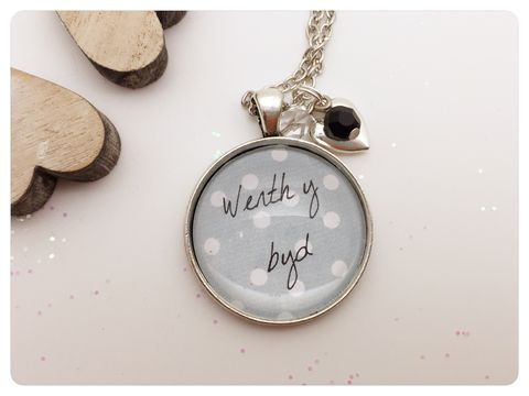 Werth,y,Byd,Pendant,necklace, pendant, modern, colourful, cabochon, welsh, love, wales, werth