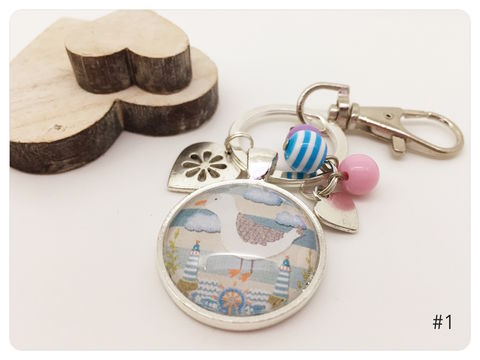 Seaside,keyring, silver, seagulls, whale, fish, seaside