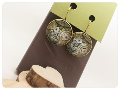 Green,Paisley,Earrings,earrings, modern, contemporary, bronze, Green, Paisley