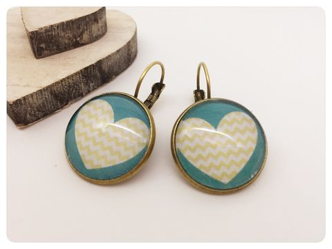 Chevron,Hearts,Earrings,earrings, modern, contemporary, bronze, chevron, heart