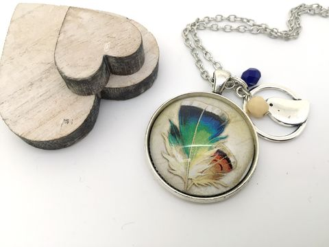 Feather,Pendant,necklace, pendant, modern, colourful, cabochon
