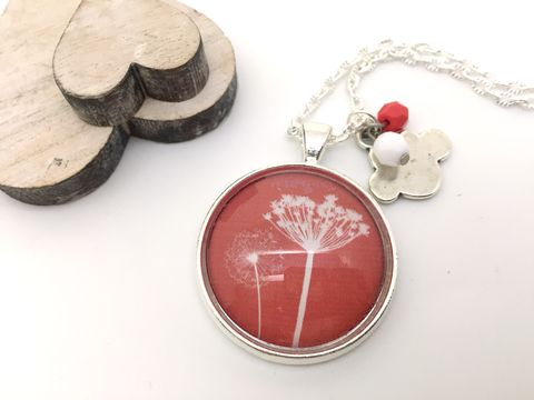 Red,Dandelion,Pendant,necklace, pendant, modern, colourful, cabochon, dandelion, red