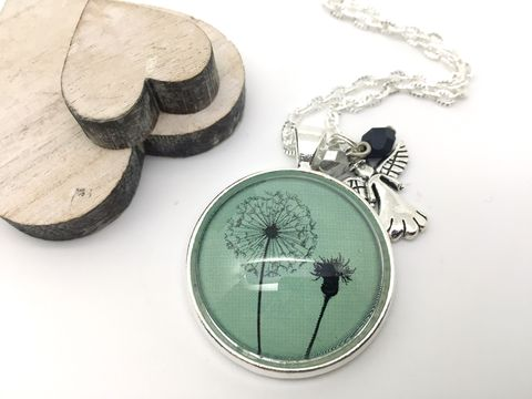 Green,Dandelion,Pendant,necklace, pendant, modern, colourful, cabochon, dandelion, green