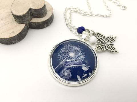 Blue,Dandelion,Pendant,necklace, pendant, modern, colourful, cabochon, dandelion, blue