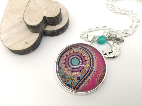 Pink,Paisley,Pendant,necklace, pendant, modern, colourful, cabochon, pink, paisley