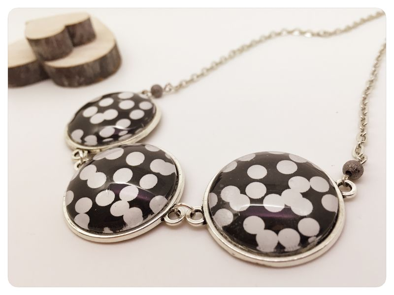 Black & White Cabochon Statement Necklace - product images  of