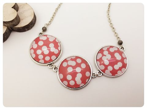 Red,&,White,Cabochon,Statement,Necklace,cabochon, necklace, black, white