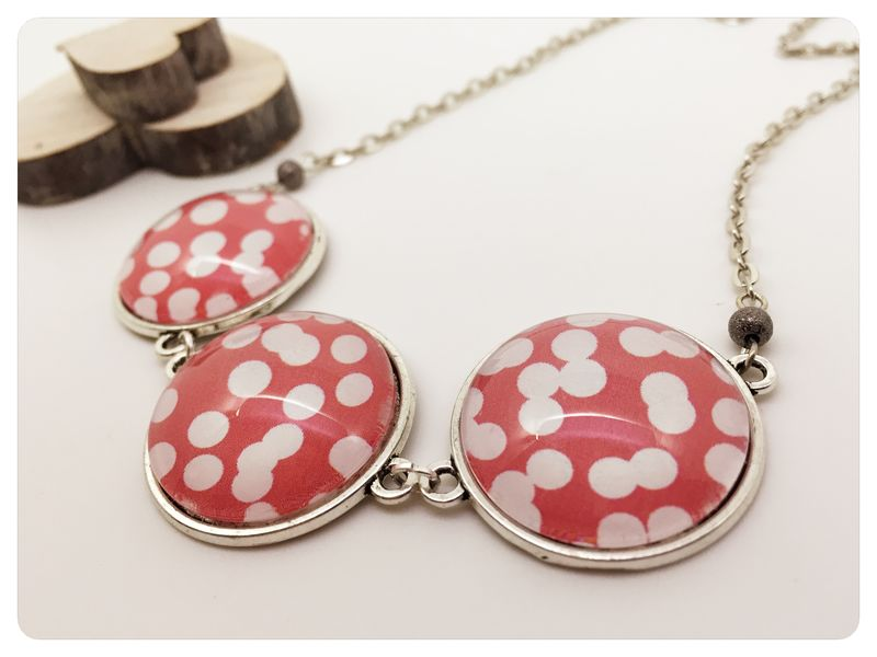Red & White Cabochon Statement Necklace - product images  of
