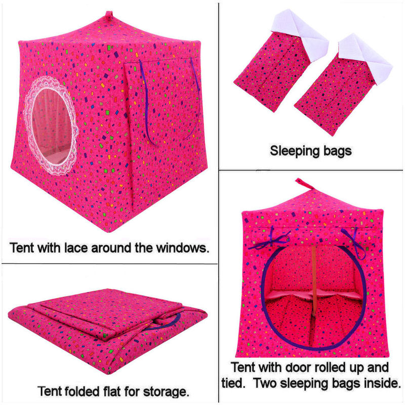 Dark pink Toy Play Pop Up Tent, 2 Sleeping Bags, small square print fabric - product images  of