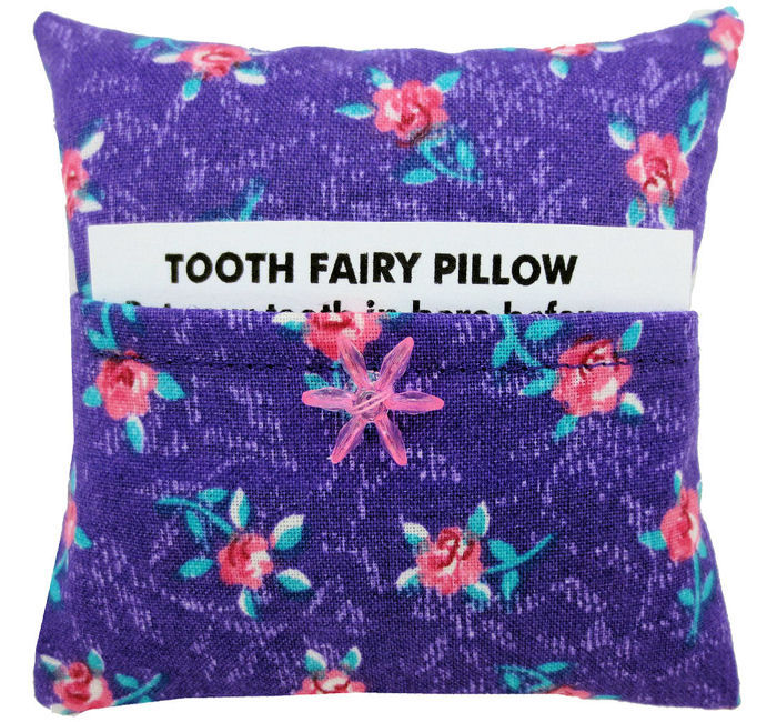 Tooth Fairy Pillow,  purple, rosebud print fabric, pink flower bead trim - product images  of