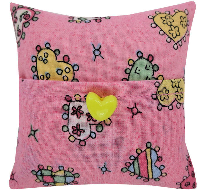 Tooth Fairy Pillow Pink Heart Print Fabric Yellow On Trim Product
