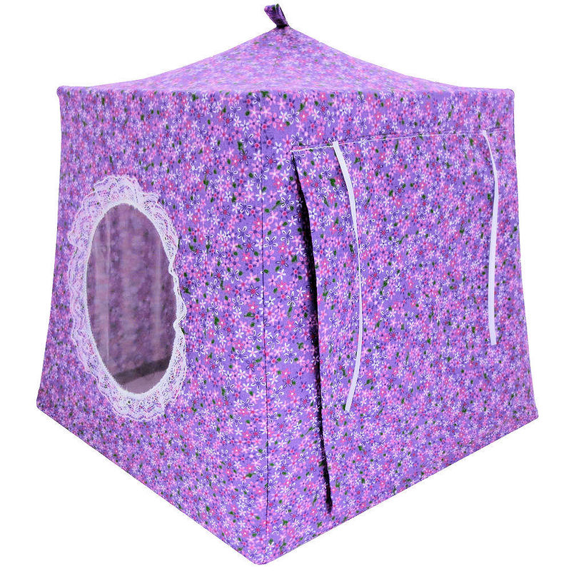 Lavender Toy Play Pop Up Tent, 2 Sleeping Bags, small flower print fabric - product images  of