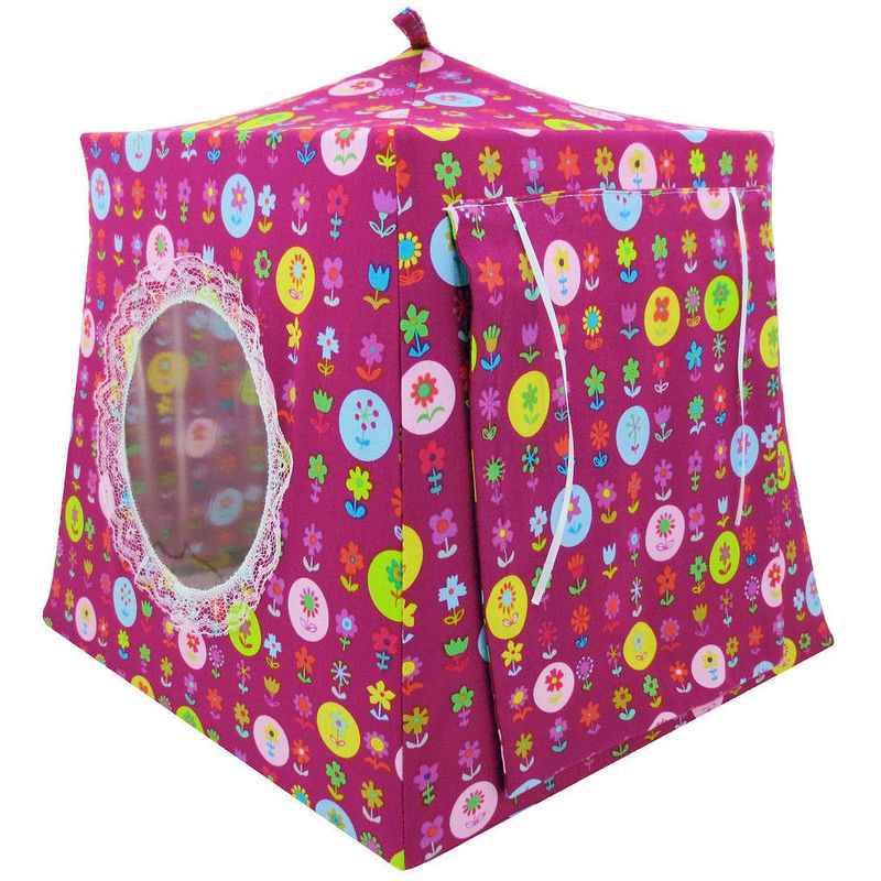 Dark pink Toy Play Pop Up Tent, 2 Sleeping Bags, flower print fabric - product images  of