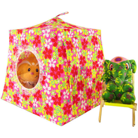 Multicolor,Toy,Play,Pop,Up,Tent,,2,Sleeping,Bags,,floral,print,fabric
