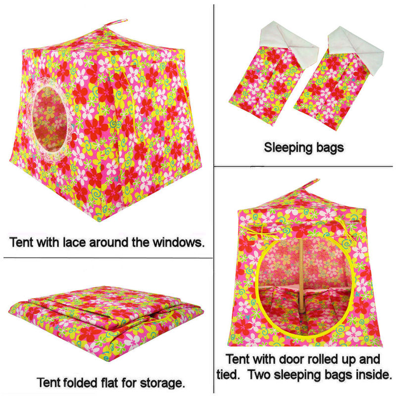 Multicolor Toy Play Pop Up Tent, 2 Sleeping Bags, floral print fabric - product images  of