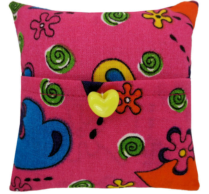 Tooth Fairy Pillow, pink, flower & heart print fabric, yellow heart button trim - product images  of