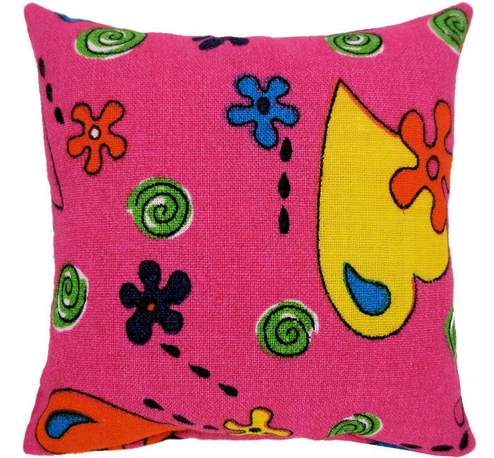 Tooth Fairy Pillow, pink, flower & heart print fabric, blue shiny star bead trim - product images  of