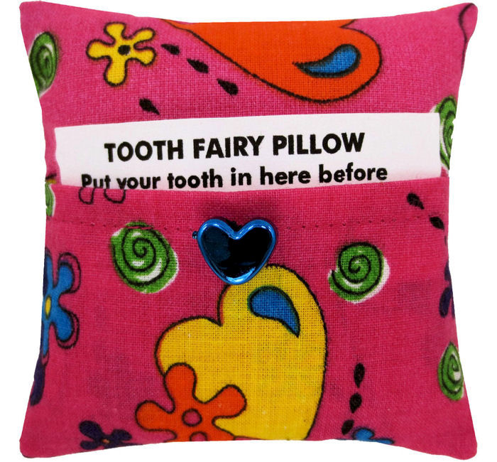 Tooth Fairy Pillow, pink, flower & heart print fabric, shiny blue heart button trim - product images  of