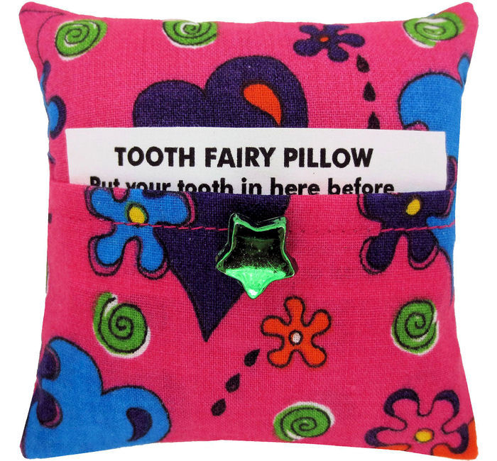 Tooth Fairy Pillow, pink, flower & heart print fabric, green shiny star bead trim - product images  of