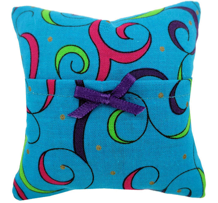 Tooth Fairy Pillow, turquoise, swirl print fabric, purple ribbon bow trim for girls - product images  of