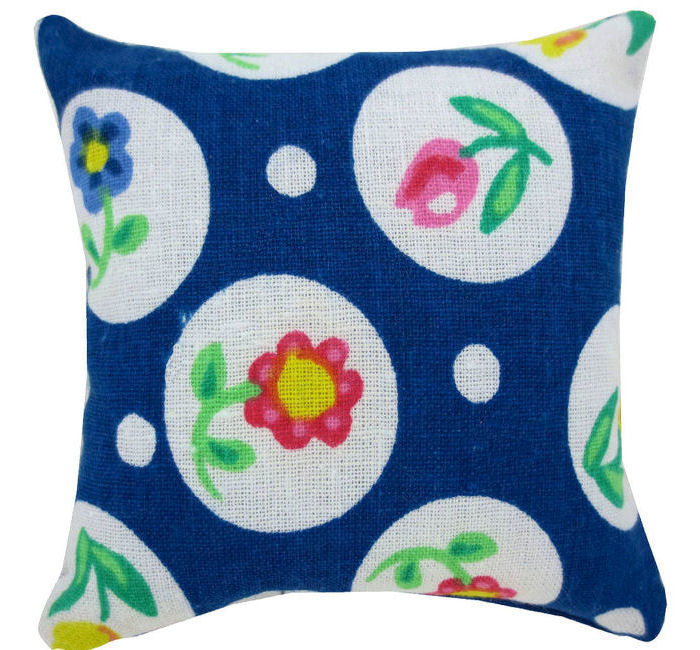 Tooth Fairy Pillow, navy blue, flower & circle print fabric, white floral button trim for girls - product images  of
