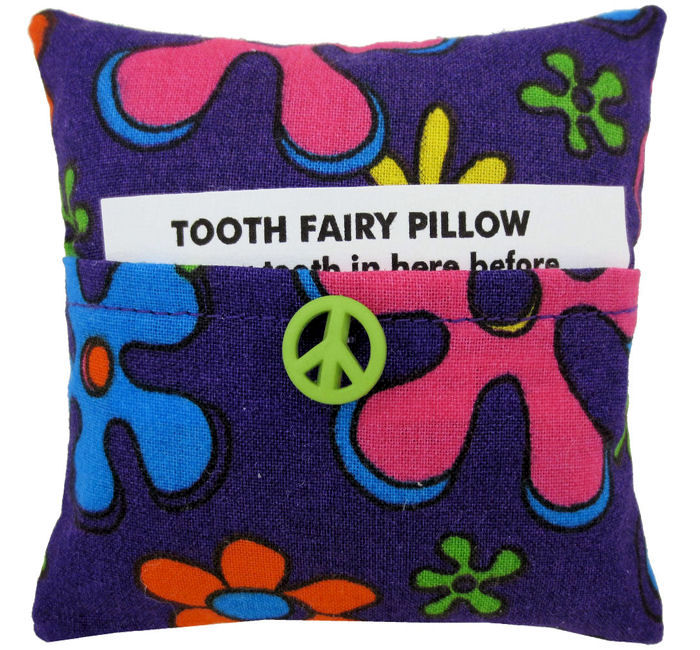 Tooth Fairy Pillow, dark purple, flower print fabric, light green peace sign button trim - product images  of