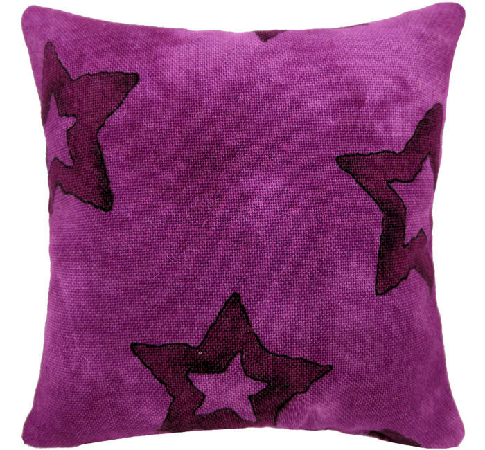 Tooth Fairy Pillow, raspberry, large star print fabric, raspberry shiny star bead trim for girls - product images  of