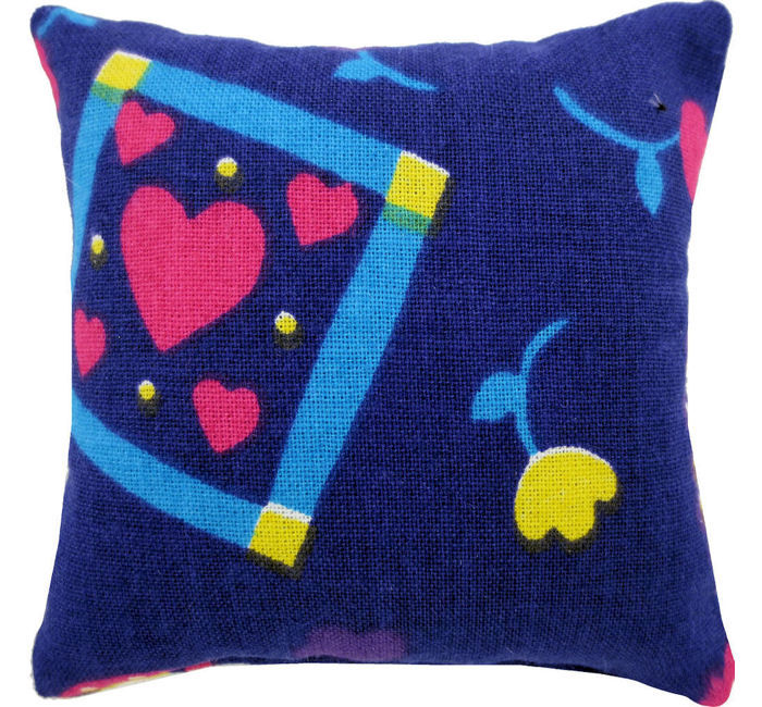 Tooth Fairy Pillow, dark purple, flower & heart print fabric, yellow ribbon bow trim for girls - product images  of
