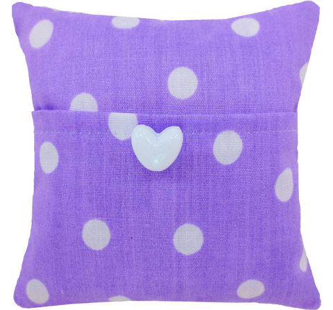 Tooth,Fairy,Pillow,,light,purple,,polka,dot,print,fabric,,white,heart,button,trim,for,girls