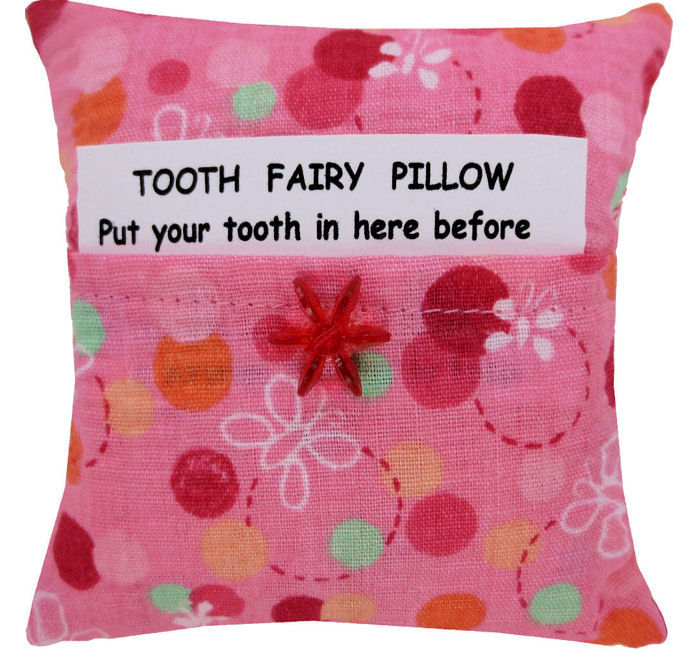 Tooth Fairy Pillow, light pink, dot & flower print fabric, red flower bead trim for girls - product images  of