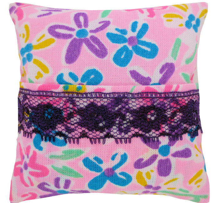 Tooth Fairy Pillow, light pink, multicolor flower print fabric, purple lace trim for girls - product images  of