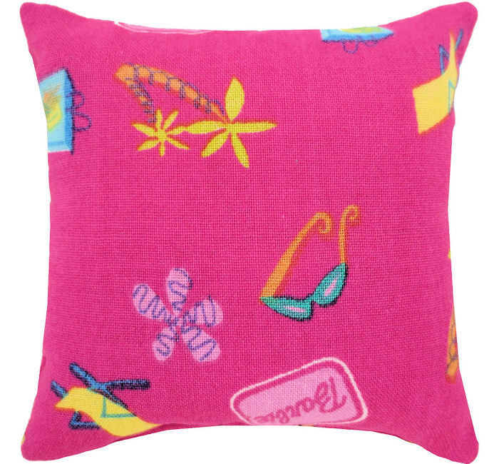 Tooth Fairy Pillow, pink, Barbie beach print print fabric, white lace trim for girls - product images  of