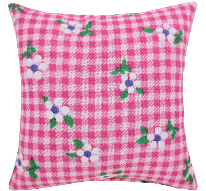 Tooth Fairy Pillow, pink, flower & check print fabric, pink ribbon bow trim for girls - product images  of