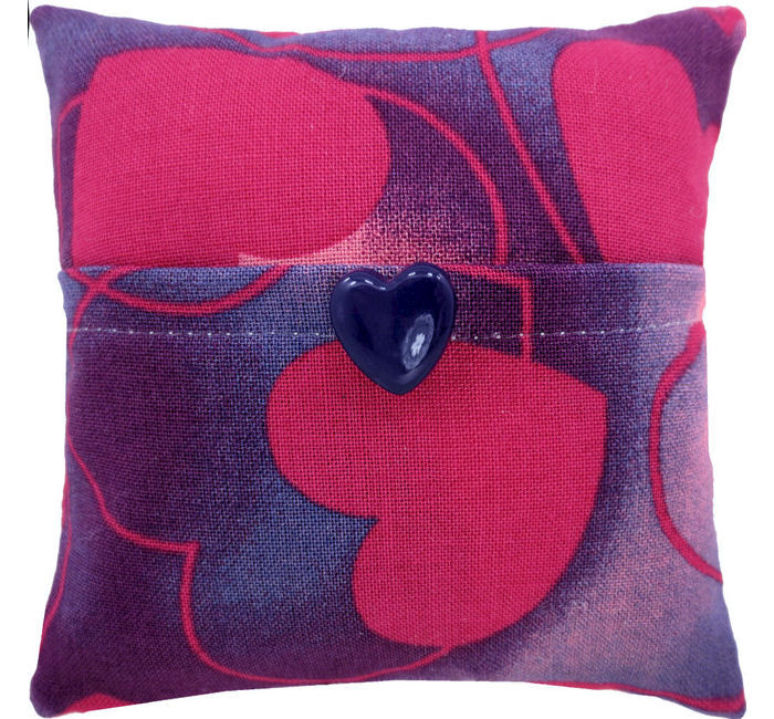 Tooth Fairy Pillow, purple, heart print fabric, purple heart button trim for girls - product images  of