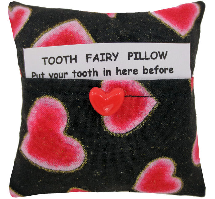 Tooth Fairy Pillow, black, heart print fabric, red heart button trim for girls - product images  of
