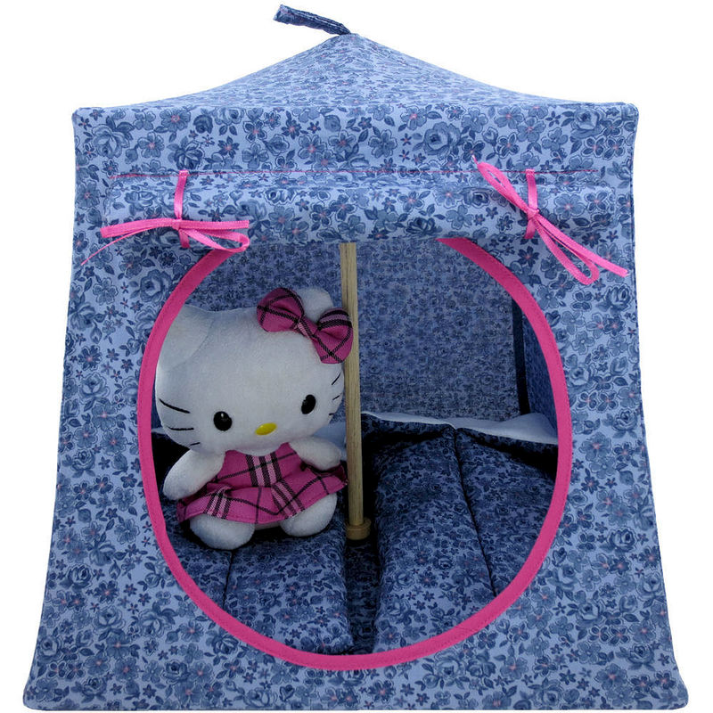Dusty blue Toy Play Pop Up Tent, 2 Sleeping Bags, flower print fabric - product images  of