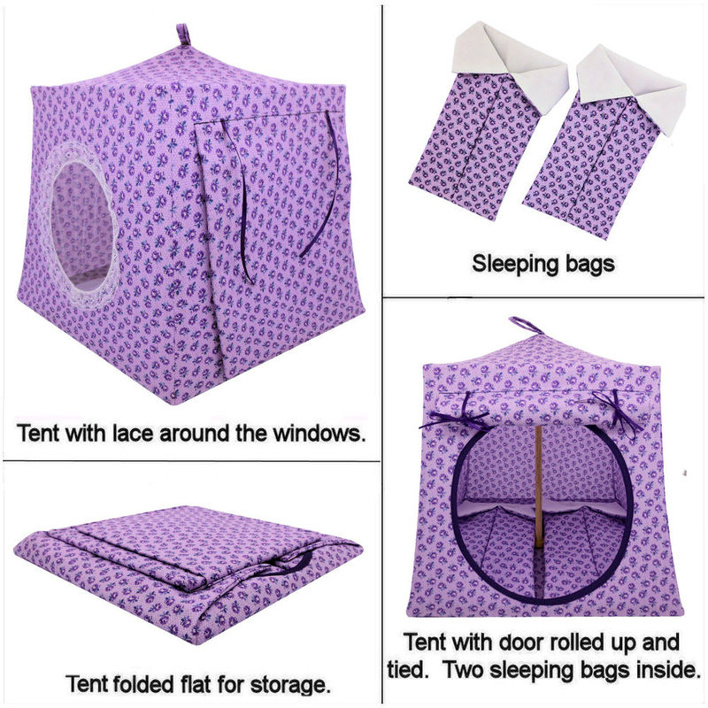 Light purple Toy Play Pop Up Tent, 2 Sleeping Bags, rosebud print fabric - product images  of