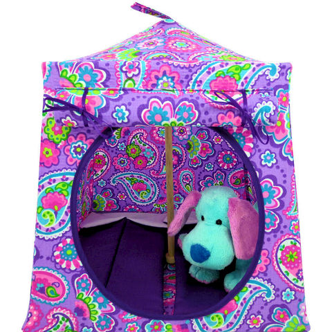 Multicolor,Toy,Play,Pop,Up,Tent,,2,Sleeping,Bags,,paisley,print,fabric,toy play pop up tent,fabric toy tents,kids play tents,multicolor fabric tent,paisley print tent,girl toy tent,Beanie Baby tent,house for Webkinz,doll camping,gift for children,purple sleeping bags,handmade toy tent,toytentsandchairs
