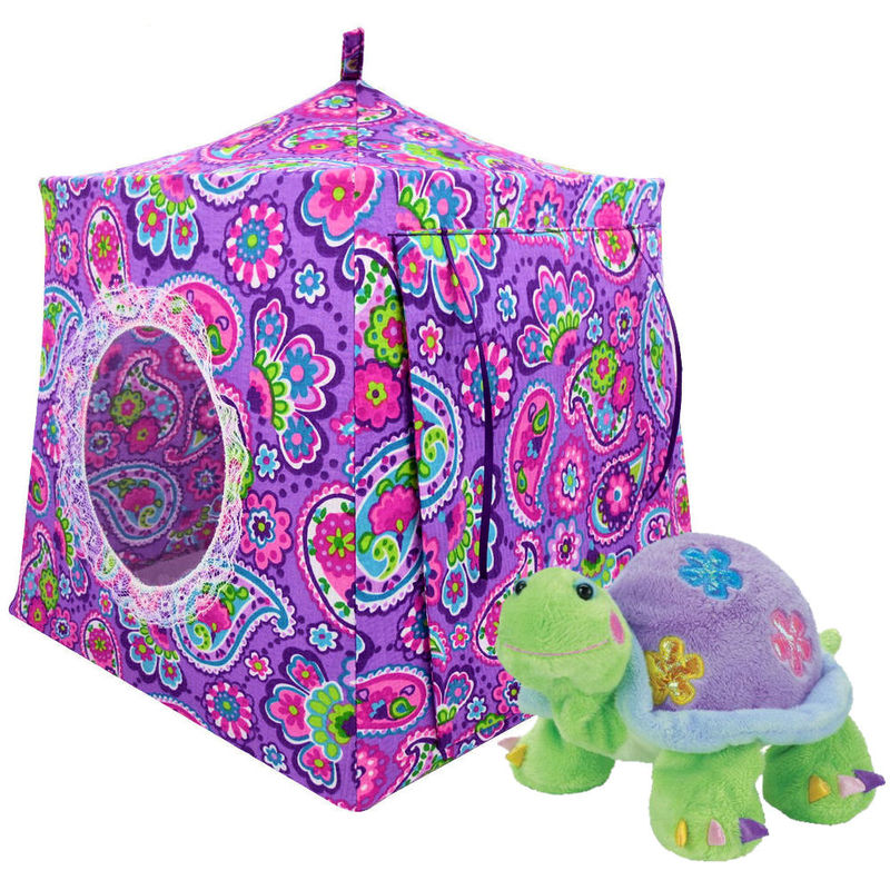 Multicolor Toy Play Pop Up Tent, 2 Sleeping Bags, paisley print fabric - product images  of