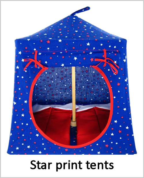 Star print tents without lace around the windows