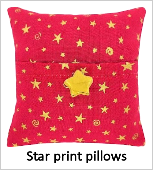 Star print tooth fairy pillows for boys or girls